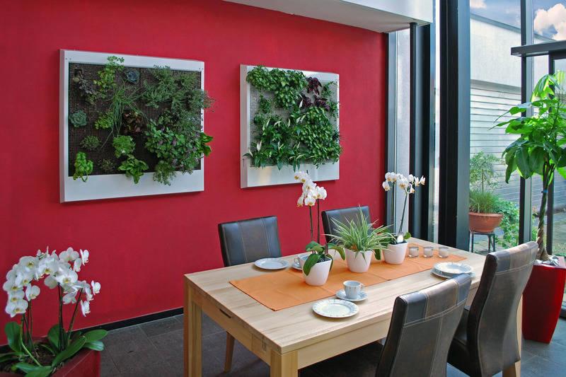 ein dschungel fürs wohnzimmer: echte pflanzen ersetzen die tapete