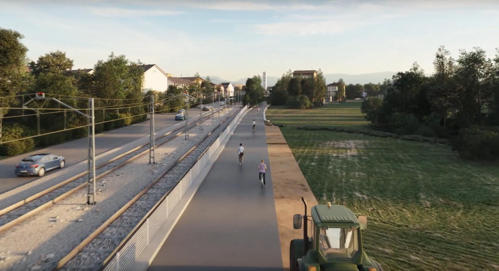 Straße, Schiene, Radschnellweg und Landwirtschaftsverkehr nebeneinander.
