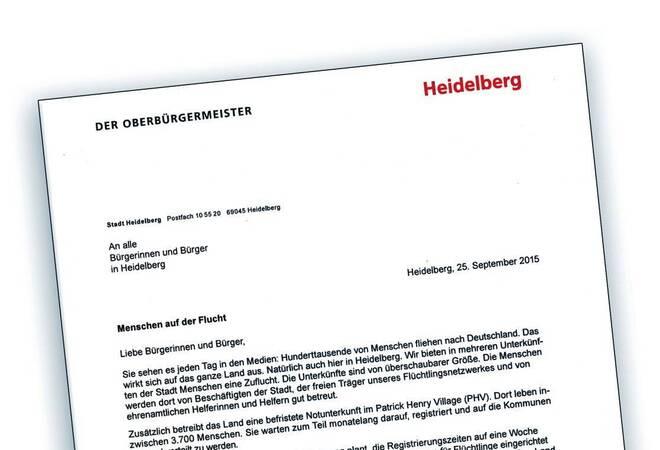 Flüchtlinge In Heidelberg Oberbürgermeister Schreibt An Alle